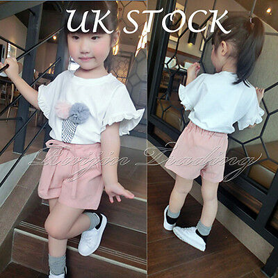 2Pcs Summer Kids Baby Girls Outfits Clothes T-shirt Tops+Pink Short Pants Sets