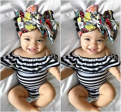 Striped Newborn Infant Baby Girl Cotton Romper Jumpsuit Bodysuit Outfit Clothes
