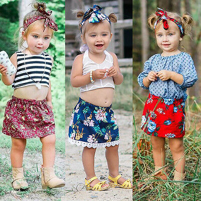 Toddler Infant Baby Girl Floral Print Short Skirts Dress Clothes Headband Outfit