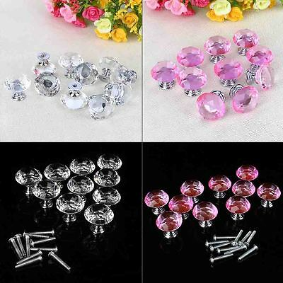30cm Diamond Crystal Glass Door Knob Drawer Cabinet Kitchen Furniture Handle New