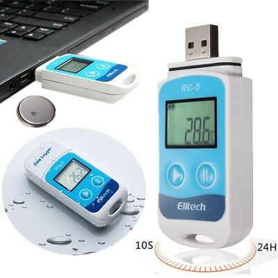 Elitech LCD USB Temperature Data Logger Recorder Internal Sensor IP67 RC-5