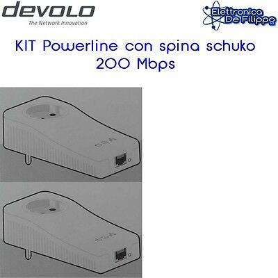 Kit Powerline 200 Mbps con spina schuko pass brand Devolo
