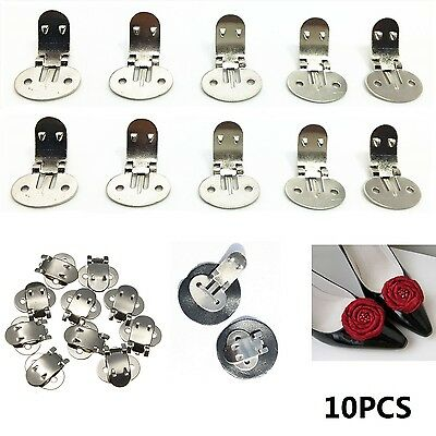 10X Blank Stainless Steel Brooch Shoe Clips Clip Findings Wedding Craft Buckles