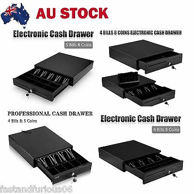 Heavy Duty Electronic Cash Drawer Cash Register POS 4/5 Bills 5/8 Coins Tray AU
