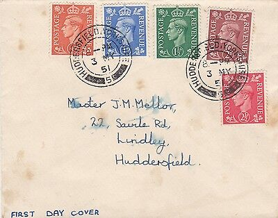3/5/1951 UK GB FDC - George VI: Definitives Colour Change - Huddersfield CDS