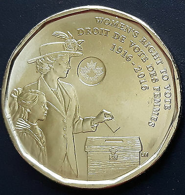 CANADA 2016 CANADIAN Women's Right To Vote Loonie 1 One Dollar COIN.