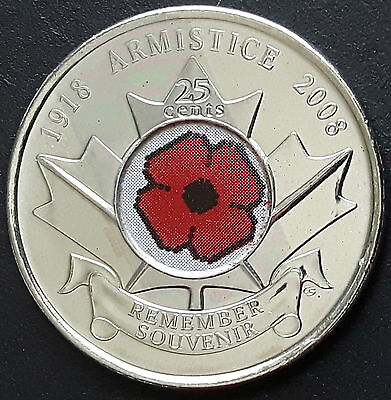 CANADA 2008 CANADIAN QUARTER 25 Cents ARMISTICE REMEMBER SOUVENIR COIN.