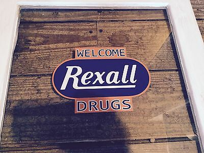 EARLY VINTAGE REXALL DRUGSTORE Cabinet Door With Decal Logo Glass Wood 39x18