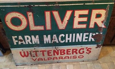 48x37 Oliver Farm Machinery Sign Wittenberg's Valparaiso Great Color Lettering