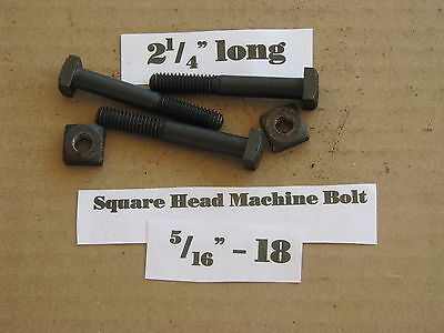 """Antique 5/16""""-18 X 2 1/4""""  Square Head Bolts with Nuts  NOS LOT of 10"""
