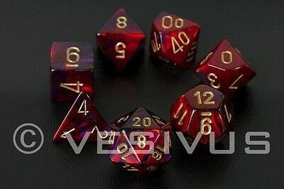 DICE Chessex Gemini PURPLE/RED 7-Dice Set Marble Shiny d20 d10 d6 26426
