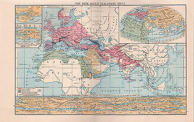 Map Of The World German Text 1886 Original Large Antique