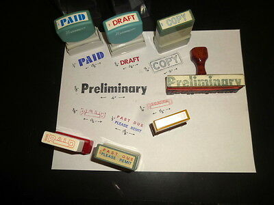 7 Vintage Office Business Rubber Stamps Self Inking