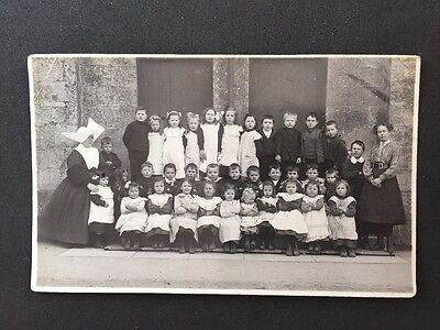 Vintage RPPC: Early 20c School Class #A84 Mixed Children Rocking Horse Nun