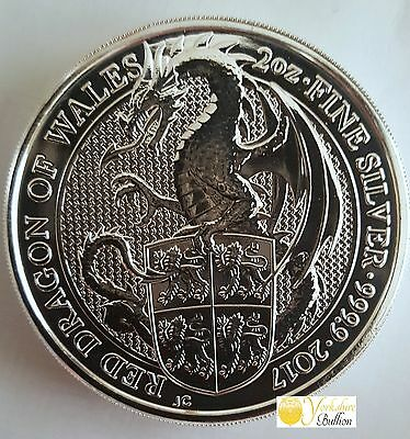 2oz Silver 2017 Queens Beast The Dragon With Capsule