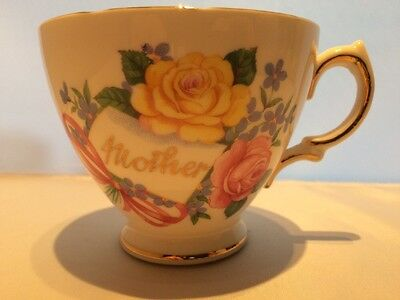 ROYAL VALE BONE CHINA 1950s Tea Cup PINK BLUE YELLOW FLORAL BOWS MOTHER