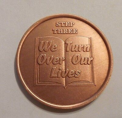 aa copper step three alcoholics anonymous sobriety chip coin token medallion