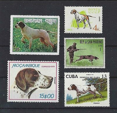 Dog Art Body Study Portrait Postage Stamp Collection 1 ENGLISH POINTER 5 x MNH