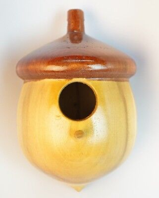 Beautiful Made in USA Handmade Real Wood Acorn Shaped Birdhouse Bird House