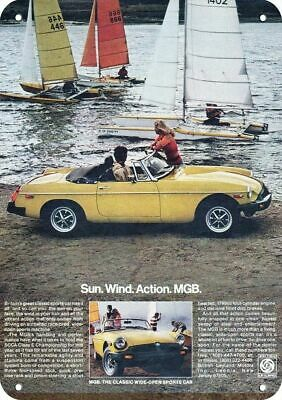 1978 MGB Convertible Yellow Sports Car Replica Metal Sign - MG - SAILBOATS