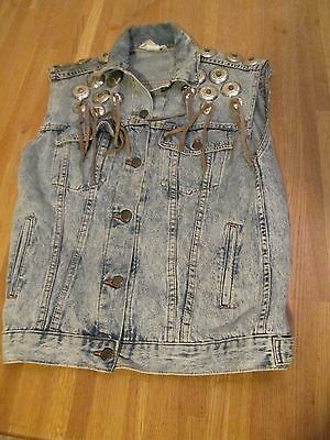 Vintage Denim Western Sleeveless Vest Jacket USA Made Hipster Leather Fringe S-M