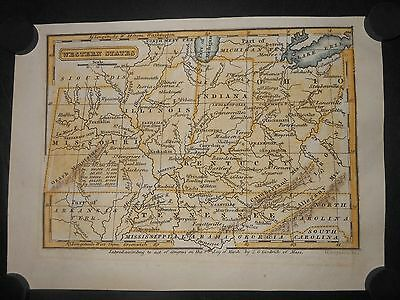 Western States 1832 Map Hand color Missouri Illinois Indiana Ohio Tennessee Ky