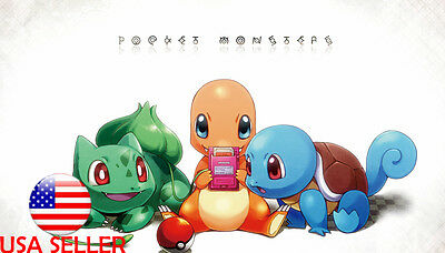 "Pokemon Squirtle Charmander Bulb 42"" x 24"" Large Wall Poster Print Anime NEW #10"