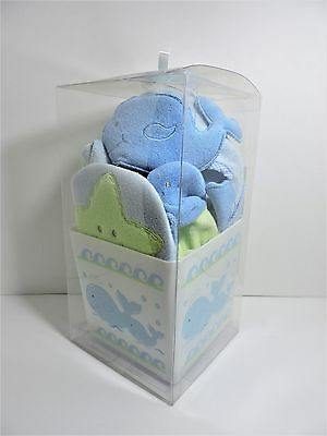 6 Piece Bath Gift Set with Plastic Caddy from Bright Future for Baby (Whales)