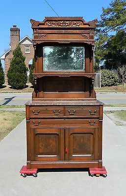 Walnut Victorian Brown Marble Top Buffet Sideboard