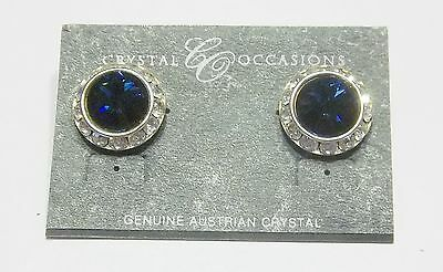 Blue Crystal Pierced Earrings dance moms Ballroom Competition Perfomance ...Se80