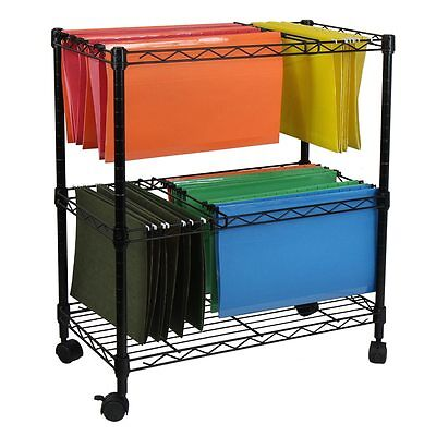 Filing Cabinet Storage Cart Rolling Mobile Portable Hanging File Folder Wheels