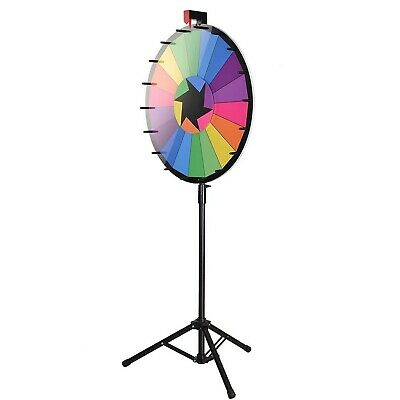 "WinSpin 24"" Editable Color Prize Wheel of Fortune 18 Slot Floor Stand Tripod Spi"