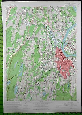 1965 Antique Middletown Connecticut USGS Topographic Map 19x27 Inches