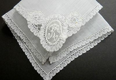 "Princess Lace ""K"" Monogram Linen Hanky - Brussels - Vintage Heirloom Treasure"