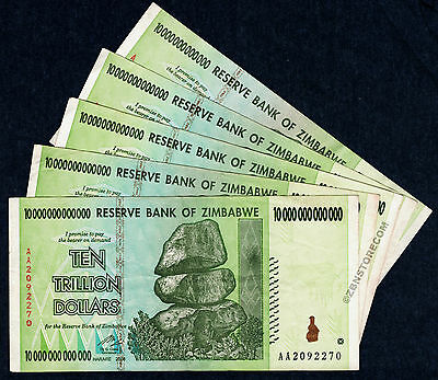 10 Trillion Dollars Zimbabwe x 5 Banknotes 5PCS AA 2008 Currency = 50 Trillion