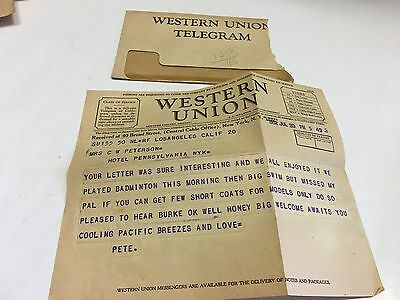 Western Union Telegram 1932 Vintage Western Union Telegram With Envelope