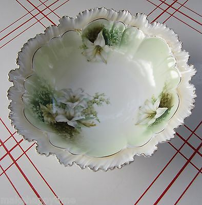 Wonderful Antique RS Prussia White Lily Floral Design Large 11 Inch Bowl # 9.
