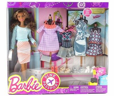 Barbie Pink Passport 10 Pieces Fashion Doll Gift Set