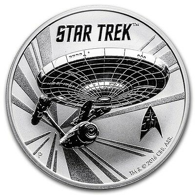 2016 ~ 1~Oz ~Tuvalu~.999 Siver ~ Star Trek ~ U.s.s. Enterprise ~ Capsule~ $29.88