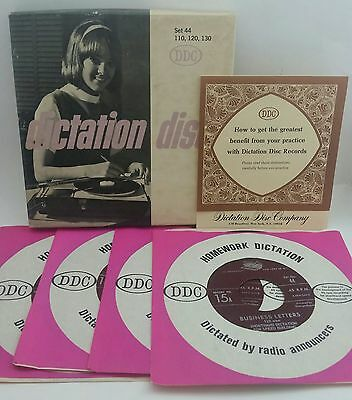 Dictation Disc #44 Set of 4 45RPM Business Letters Shorthand Speed Building