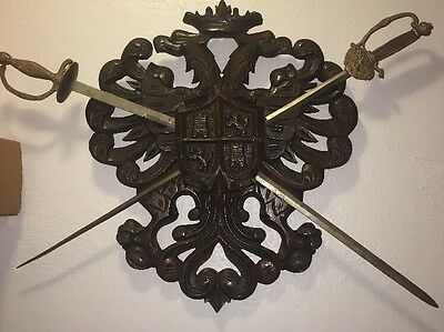 """Antique Large carved wood wall plaque sword coat of arms 28""""x22"""" Super Rare"""
