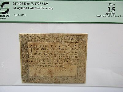 Colonial Currency Maryland 1775 $1/9, PCGS Fine 15 apparent