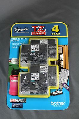 """New Genuine Brother P-Touch White 12mm 1/2"""" TZ Tape Multipack - Free Shipping"""