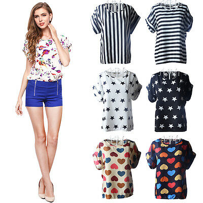 Stylish Women Lady Casual Summer Chiffon Short Sleeve T-shirt Tops Loose Blouse