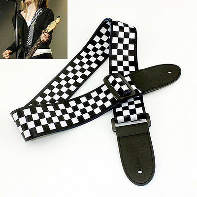 Adjustable Black White Electric Acoustic Guitar Strap Leather Ends