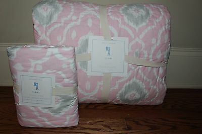NWT Pottery Barn Kids Claire Pink twin quilt & euro sham ikat gray