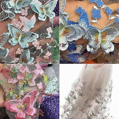 1Yard 3D Butterfly Embroidery Tulle Lace Fabric Scalloped Dress Bridal 51'' Wide