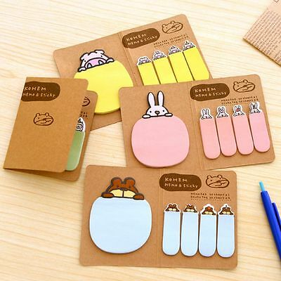 4 Colors Cute Animal Sticker Point Bookmark Marker Memo Index Tab Sticky Notes