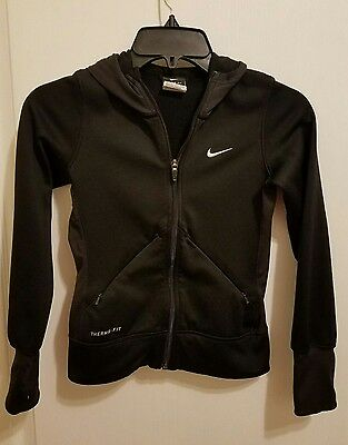 NIKE Therma-Fit Black Hooded Zip Up Jacket  Girls Youth Size S