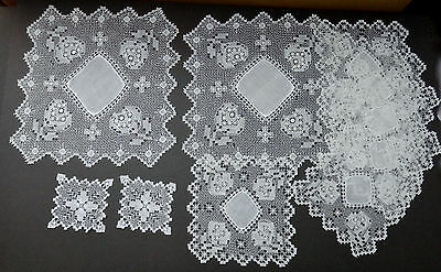 Antique Italian Filet Lace Floral Doilies 10 Pc - Dessert Table Doilies